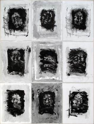 Faces, monoprints on canvas, 78 x 50 cm, 2012